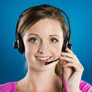 Woman speaking into headset